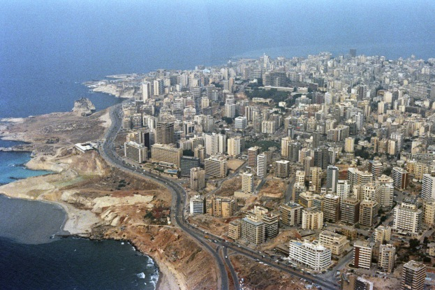 An aerial view of Moslem-occupied West Beirut and the Mediterranean shoreline. Buildings throughout the city have been damaged by shelling during ongoing confrontation between Israeli forces and the Palestine Liberation Organization.